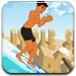 小男孩海滩冲浪